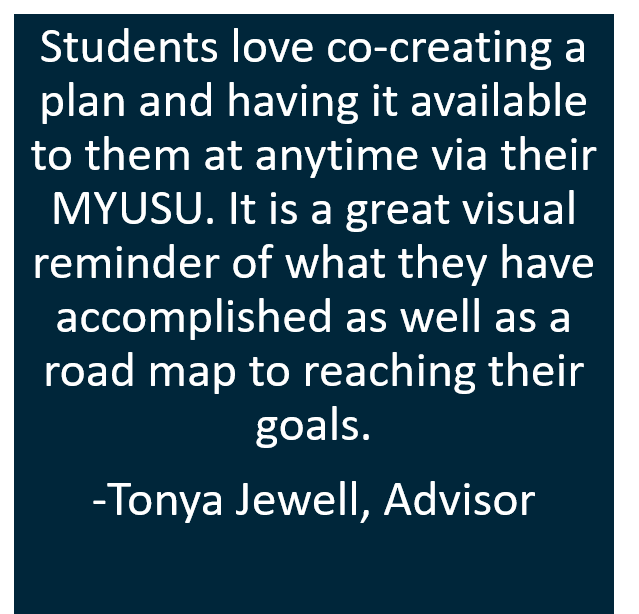 Students love co-creating a plan and having it available to them at anytime via their MYUSU. It is a great visual reminder of what they have accomplished as well as a road map to reaching their goals.